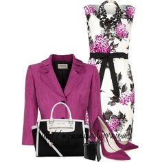 A fashion look from March 2014 featuring floral summer dresses, linen jackets and sophia webster shoes. Browse and shop related looks. Komplette Outfits, Classy Outfits, Stylish Outfits, Frack, Look Chic, Work Attire, Work Fashion, I Dress, Dress To Impress