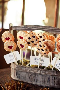 Pie Pops: Not a cake fan? Try these lattice crust pie pops filled with sweet fruits instead of cake pops, great for a summer wedding menu.