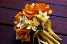 Paper Flower Bouquet Wedding, origami, rose, anniversary, gifts for her, centerpiece.. $45.00, via Etsy.