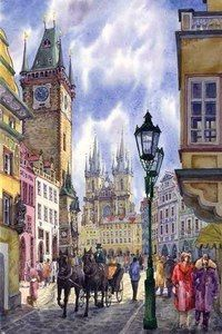 Prague, Old Town Square by Yuriy Shevchuk. Beautiful Paintings, Watercolor Sketch, Watercolor Paintings, Building Painting, Old Town Square, Naive Art, City Art, City Buildings, Impressionism