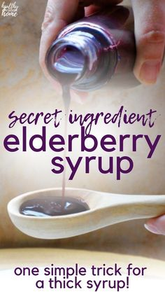 Thick Elderberry Syrup Recipe {NO more spills / texture of store-bought!} - THICK elderberry syrup is a perfect immune-boosting remedy for cold + flu season. Most recipes are - Holistic Remedies, Natural Health Remedies, Herbal Remedies, Natural Cures, Homeopathic Remedies, Cough Remedies For Adults, Cooking With Turmeric, Elderberry Recipes, Elderberry Syrup Recipe Without Honey