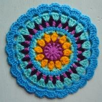 Crochet Mandala Wheel made by  Sandra, Portsmouth, UK,  for yarndale.co.uk