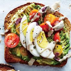 Avo-Tahini Toast | MyRecipes  If you think you're over avocado toast, this topper will change your mind. Make sure to give your tahini a good stir before drizzling.