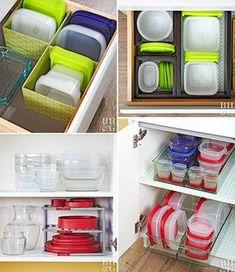 Como organizar potes nos armários da cozinha - Casinha Arrumada
