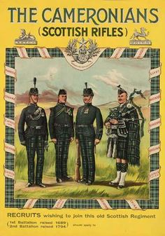 The Cameronians (Scottish Rifles) Scottish Army, Patriotic Posters, British Army Uniform, Scotland History, Ww2 Posters, Military Art, Military Service, Military Uniforms, Men In Kilts