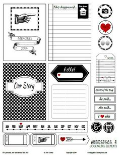 bw journaling cards ver3 preview Free Printable Download    Whimsical 3 Journaling Elements
