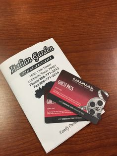 Italian Garden Gift Card and Two Free Movie Passes to Cinemark Theaters--Valued at $45.00--Bidding starts at $5.00
