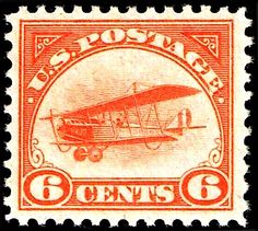 USA, 6¢ Airmail Stamp, 1918. The 1910's were an era of experimentation for manned flight. Carrying mail via airplane was a dangerous proposition. Although the United States was not the first to issue an airmail stamp [that distinction goes to Italy, in 1917], this 6¢ was the third airmail stamp printed by the US. As the airmail program progressed, the rate went down two times in 1918, thus the existence of the 1918 24¢ and 16¢ Jenny Airmail stamps.