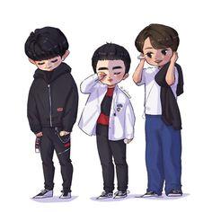 Chanbaek Fanart, Fanart Bts, Cute Cartoon Images, Cartoon Art, I M Melting, Exo Fan Art, Chansoo, Exo Do, My Favorite Music