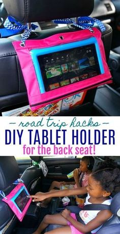 Road Trip Hacks - Make this easy DIY tablet holder for the car head rest. Perfect to entertain the kids in the back seat during long car rides! #ad #FirestoneAuto