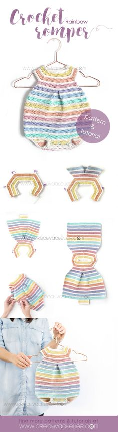 Learn How to Make This Crochet Rainbow Romper for Baby. FREE Step by Step Tutorial & Pattern. Cheerful, Colorful and Delicate at the same time! Crochet Romper, Baby Girl Crochet, Crochet Baby Clothes, Crochet For Kids, Crochet Hooks, Knit Crochet, Crochet Dresses, Baby Knitting Patterns, Baby Patterns