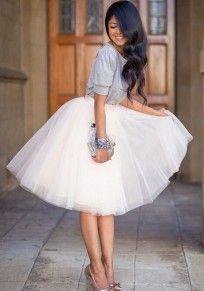 White Plain Draped Grenadine New Fashion Latest Women Puffy Tulle High Waisted Knee Length Sweet Skirt