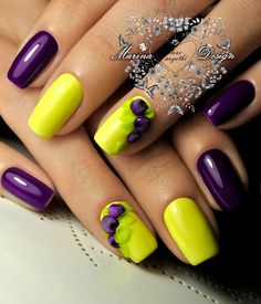 Enchanting Yellow and Purple Nail Art Design. Get your nails done with this beautiful and bright nail art design whether you are going to a beach party or just going to hang out with your friends. It will go oh-so incredible with all the occasions.