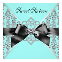 Diamonds Teal Blue Black Sweet 16 Birthday Party Announcements