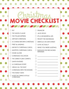 Christmas Movie Checklist