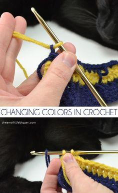 Last week I showed you how to weave in ends as a part of sharing the basics of crochet with you. And since I get emails about it regularly, it seemed a good a time as any to also show you how to change colors. First off, gonna come clean. On my row of … Crochet Crafts, Yarn Crafts, Crochet Projects, Free Crochet, Knit Crochet, Decor Crafts, Paper Crafts, Beginner Crochet, Crochet Tutorials