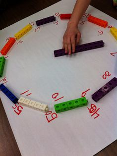 Teaching Special Thinkers: Telling Time is EASY PEASY  Creating an analog clock from a unifix number line-- to support learners' understanding of time--great idea!