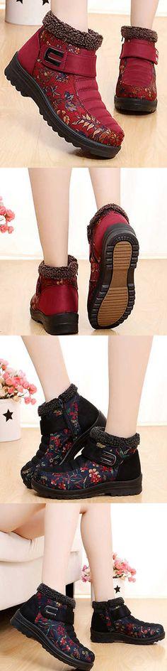 US$22.30 Flower Hook Loop Metal Ankle Warm Retro Platform Boots