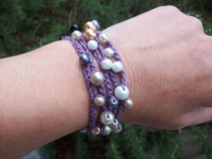 Beaded Crochet Wrap Bracelet and/or Necklace by AngieHallHaviland, $10.00