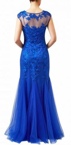 Royal blue embroidered lace tulle mermaid prom or black tie gown to hire or buy