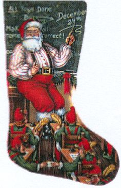 santa teacher needlepoint stocking canvas - Needlepoint Christmas Stocking Canvas