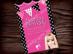 Hey, I found this really awesome Etsy listing at https://www.etsy.com/listing/114194368/personalized-barbie-invitation-barbie