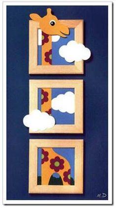 Resultado de imagen de cuadro para habitacion de bebe Baby Crafts, Felt Crafts, Wood Crafts, Diy And Crafts, Crafts For Kids, Paper Crafts, Country Paintings, Kids Wood, Craft Sale