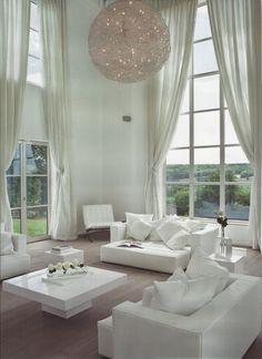 dreamiest blend of windows, window treatments, & chandelier EVER!!!