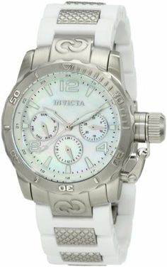 Invicta Women's 1696 Corduba Mother-Of-Pearl Dial White Polyurethane and Stainless Steel Watch Invicta. $169.99. Water-resistant to 100 feet (330 M). Swiss quartz movement. 24 hour, day and date subdials. Mineral crystal; brushed stainless steel case; white polyurethane strap with textured stainless steel center links. Mother of pearl dial with silver tone hands, hour markers and arabic numerals; luminous; unidirectional bezel; secured screw down protective cap on crown