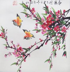 Original painting oriental art chinese artflower with by art68, $38.00