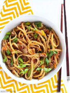 These Stir Fry Beef Noodles are made with basic ingredients but still full of flavor. They're fast to whip up, frugal, and filling! @budgetbytes