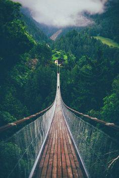 Suspension bridge in Switzerland:
