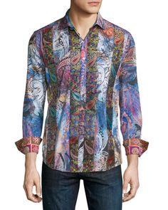 Little Dragon Printed Long-Sleeve Sport Shirt, Multicolor, Men's, Size: XXX-LARGE, Multi Colors - Robert Graham