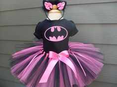 Custom Tutus...PINK BAT GIRL tutu set..size 3,6,9,12,18,24 months and 2T,3T,4T,5T,6T years,costume...birthday tutu, photo prop, batman. $65.00, via Etsy.