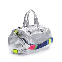 silver Leather Duffel with neon and colorful accents by Meredith Wendell $347 on sale