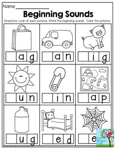 Beginning sounds worksheets for preschool and kindergarten; students match letters representing the beginning sound of words to pictures. Other phonics . Kindergarten Literacy, Preschool Learning, Preschool Activities, Free Kindergarten Worksheets, Teaching Phonics, Literacy Centers, Teaching Reading, Fun Learning, Education Quotes For Teachers