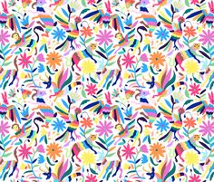 Mexican Otomi Animals - Large Multicolor fabric by jadefrolics on Spoonflower - custom fabric