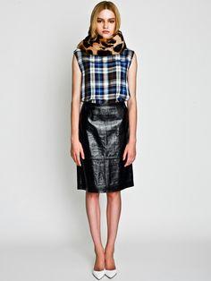 Leopard Fur Muffler, British Check Tank and Patent Leather Pencil Skirt / LE CIEL BLEU