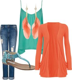 """Teal & Orange Summer"" by tbomb-1 ❤ liked on Polyvore"