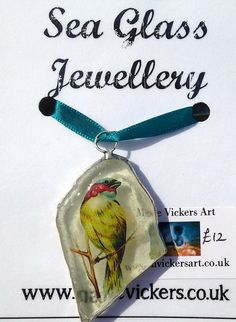 Loving this Sea Glass Jewellery by Marie Vickers. Resin, copper foil and found sea glass.