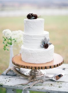 "Sweet & Simple Wedding Cake. I want coral n turquoise small flowers. and ""w"" cake topper :)"