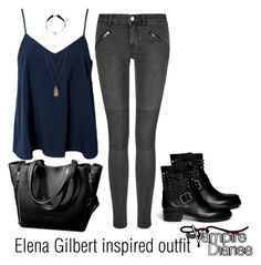 Elena gilbert inspired outfit/tvd by tvdsarahmichele on poly Edgy Outfits, Cute Casual Outfits, Outfits For Teens, Fashion Outfits, Fashion Weeks, School Looks, Look Fashion, Trendy Fashion, Paris Fashion
