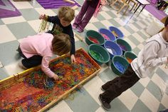 Great sorting activity for children. Sort Mardi Gras beads by color.