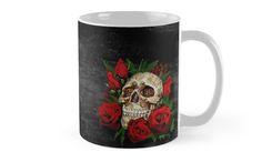 Red Rose Sugar skull Mugs #mugs #travelmugs #skull #skeleton #dayofthedead #diasdemuertos #jackskellingtons #halloween #scary #thenightbeforechristmas #animal #bone #tattoo #hippie #hipster #aztec #maya #indian #mexico #mexican #hauntedmansion #ghost #monster #flower #rose #sugarskull