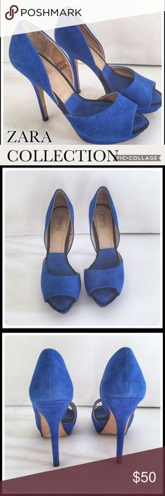 """👠 ZARA COLLECTION BY BASIC SUEDE PLATFORM HEELS 💋 ZARA COLLECTION BY BASIC peacock/ royal blue suede platform heels. The heels are 5"""" and the platform is 1 3/4"""". Great heels for making jeans looked pulled together or for a fun night out. These heels will lengthen and slim your legs! They are in EUC except for two minor scratches in the suede. Must look closely to see. They are size EURO 37/ US 7. (H5) 👠👠💋💋 Zara Shoes Platforms"""
