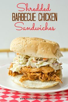 Shredded Barbecue Chicken Sandwiches {Tastes of Lizzy T}  Throw the ingredients in the slow cooker in the morning and let it cook all day.  By dinnertime you have tender, juicy chicken with a home-made barbecue flavor!