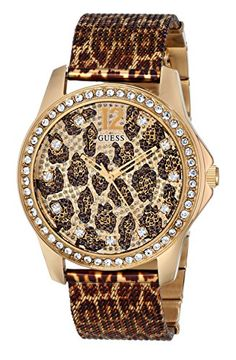 GUESS Womens U0333L1 Animal Print Mesh GoldTone Watch -- Details can be found by clicking on the image.