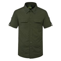 Outdoor Sport Thin Summer Breathable Quickly Dry Short Sleeve Cargo... ($28) ❤ liked on Polyvore featuring men's fashion, men's clothing, men's shirts, men's casual shirts, army green, men shirts, olive green mens shirt, mens collared shirt, mens long sleeve shirts and mens cotton shirts