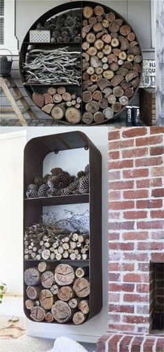 15 firewood storage and creative firewood rack ideas for indoors and outdoors. Lots of great building tutorials and DIY-friendly inspirations! - A Piece Of Rainbow - Fireplace Today Diy Para A Casa, Outdoor Living, Outdoor Decor, Cabins In The Woods, My Dream Home, Home Projects, Home Improvement, Sweet Home, New Homes