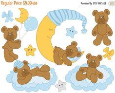 50% OFF SALE Baby Bear Clipart - Digital Vector Baby Boy, Bear, Baby Shower, Its A Boy Clip Art #clipart #vector #illustration #thecreativemill